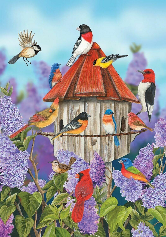 "Birds and Lilacs - with Birdhouse - Garden Flag - 12.5 "" x 18"""