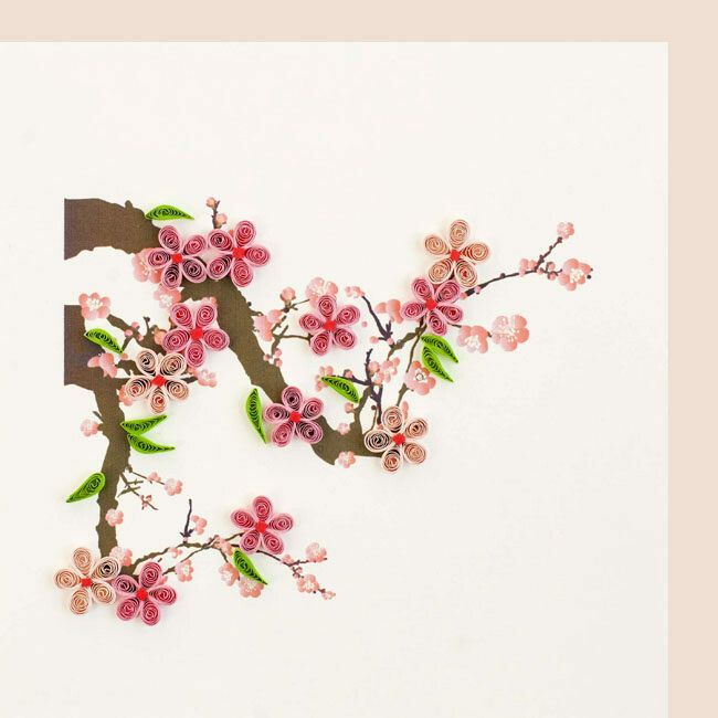 Quilling Card - Cherry Blossom - Handcrafted - Blank inside