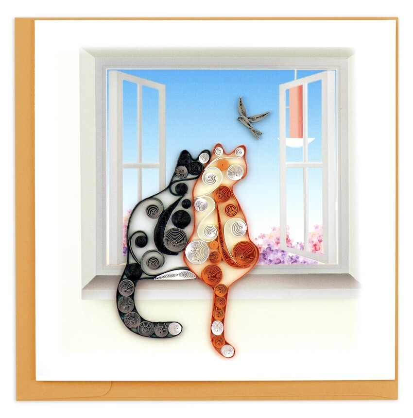 Quilling Card - Two Cats - handcrafted - Blank inside