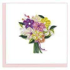 Quilling Card - Floral Bouquet - Handcrafted - Blank inside