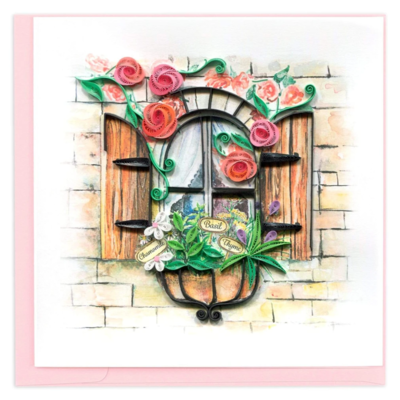 Quilling Card - Herb Garden - Handcrafted - Blank inside