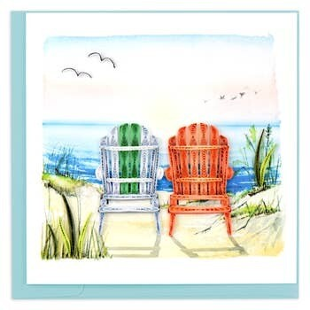 Quilling Card - Beach Adirondack Chairs - Handcrafted - Blank inside