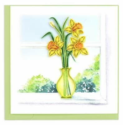 Quilling Card - Daffodil Vase - Handcrafted - Blank inside