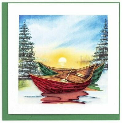 Quilling Card - River Canoes - handcrafted - Blank inside