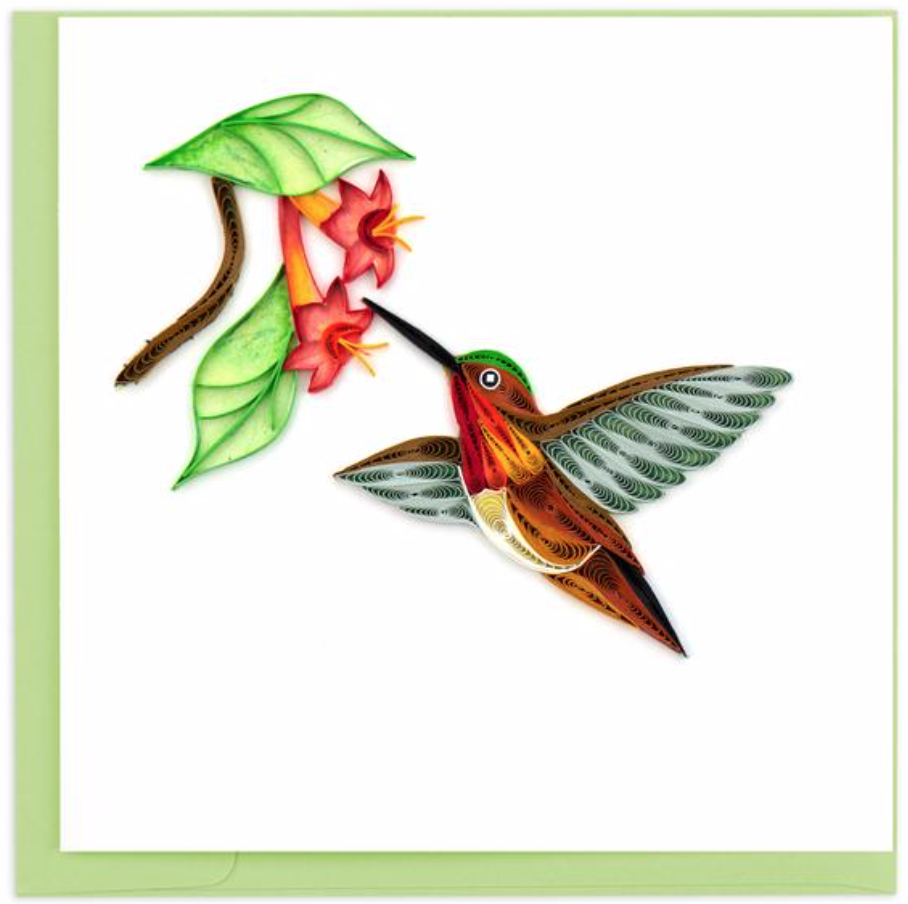 Quilling Card - Rufous Hummingbird - Handcrafted - Blank inside