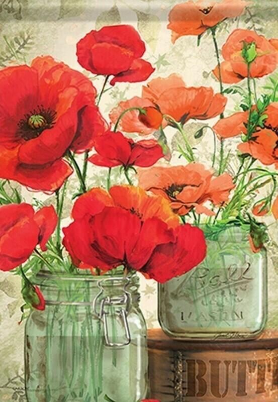 "Mason Jar Poppies - House Flag - 28"" x 40"""