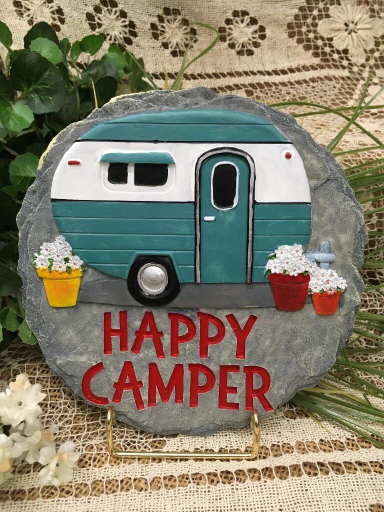 Garden Stepping Stone - Happy Camper - 8.5 inch diameter