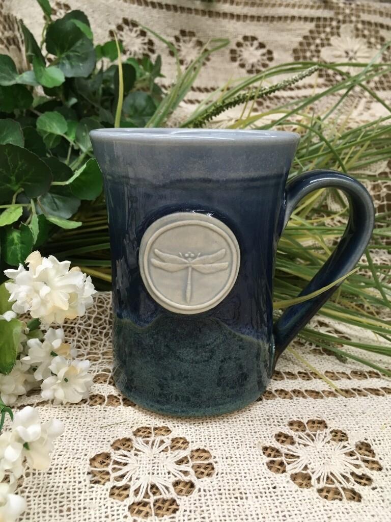 Medallion Large Mug, Dragonfly, Ocean Blue - Pavlo Pottery - Canadian Handmade