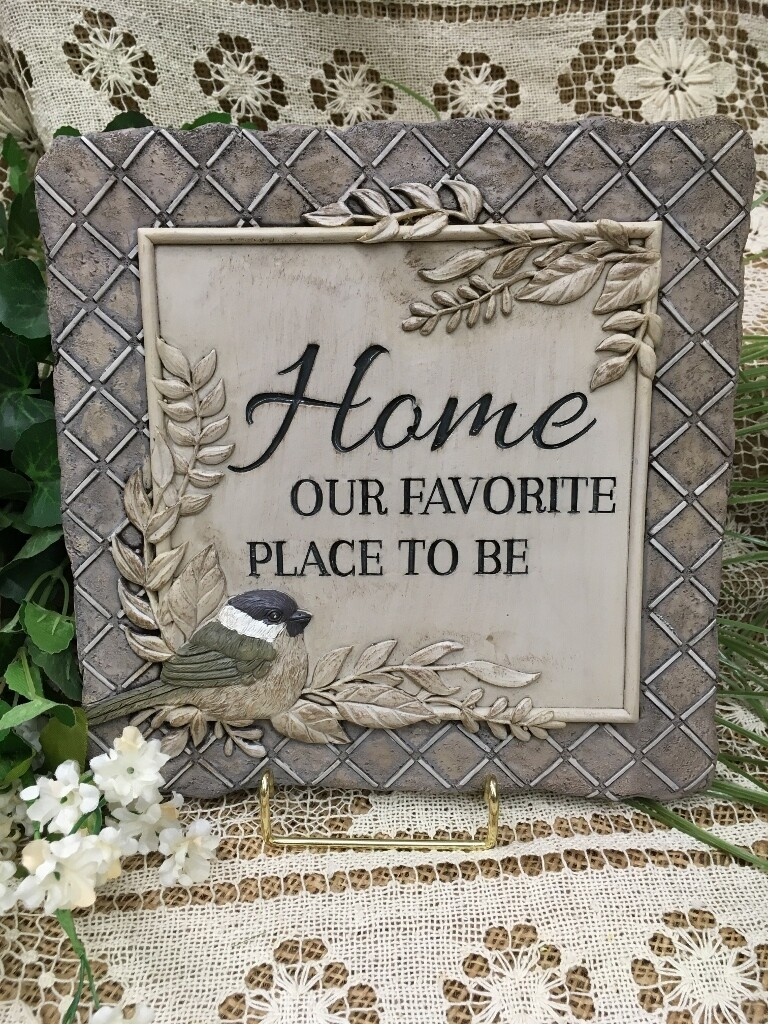 Garden Stepping Stone - Home, our Favorite Place to Be - 10 x 10 inches - with sculpted bird and leaves