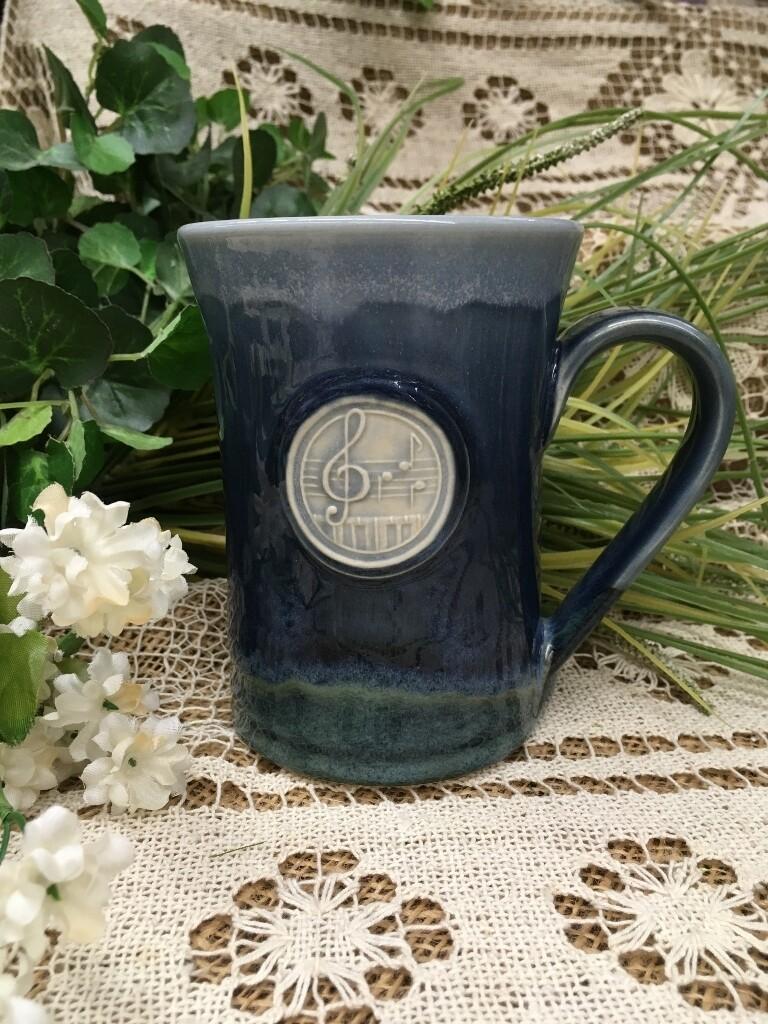 Medallion Large Mug, Music - Ocean Blue - Pavlo Pottery - Canadian Handmade