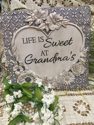 Garden Stepping Stone - Life is Sweet at Grandma's  - 10 x 10 inches - with sculpted flowers