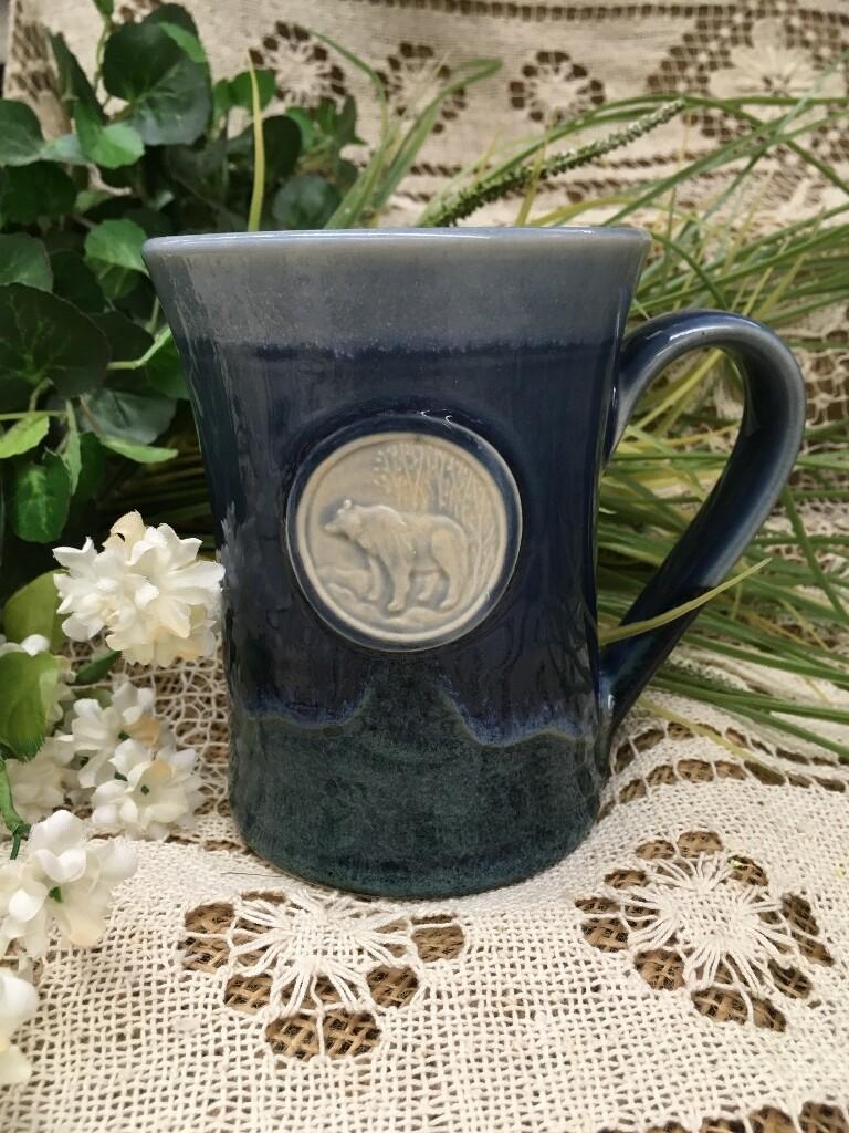 Medallion Large Mug, Bear, Ocean Blue - Pavlo Pottery - Canadian Handmade