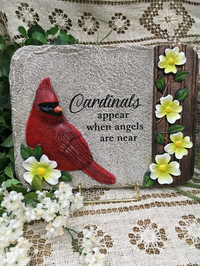 """Garden Stepping Stone - """"Cardinals appear when angels are near"""" - 10.5 x 8 inches - slate stone look"""