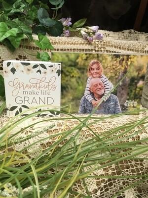 Frame with Wood Word Block - Grandkids make life Grand - 4 x 6 frame, 3.5 x3.5 inch block - P.G. Dunn