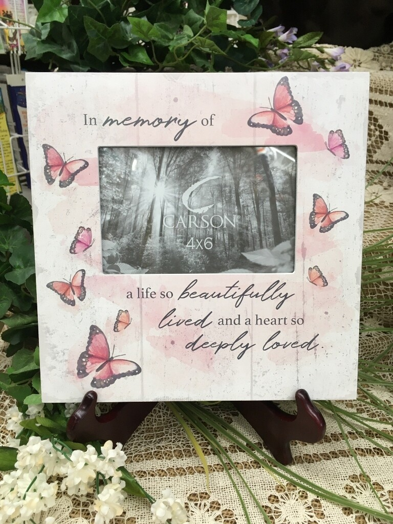 Frame - In Memory of a life so beautifully lived and a heart so deeply loved - 4 x 6 photo - Wood Block Look