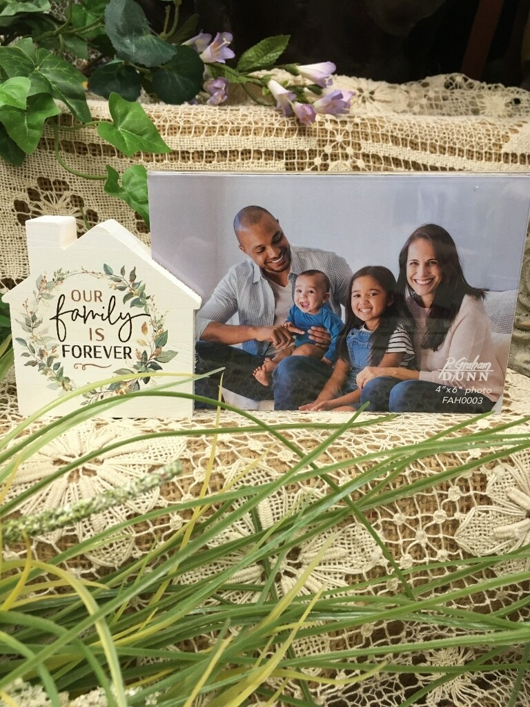 Frame with House Wood Word Block - Our Family is Forever - 4 x 6 frame, 3 x3 inch block - P.G. Dunn