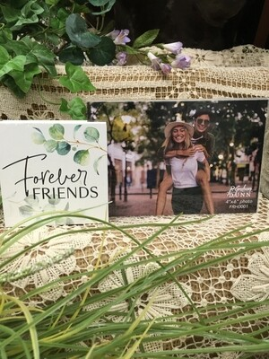 Frame with Wood Word Block - Forever Friends - 4 x 6 photo, 3.5 x 3.5 inch block - P.G. Dunn