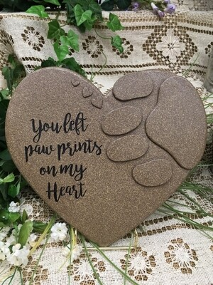 Garden Stepping Stone - You left Paw prints on my heart - Heart shaped with paw print - 11.5 x 9 inches