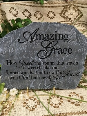 Garden Stepping Stone - Amazing Grace - 11 x 8.5 inches - slate stone look