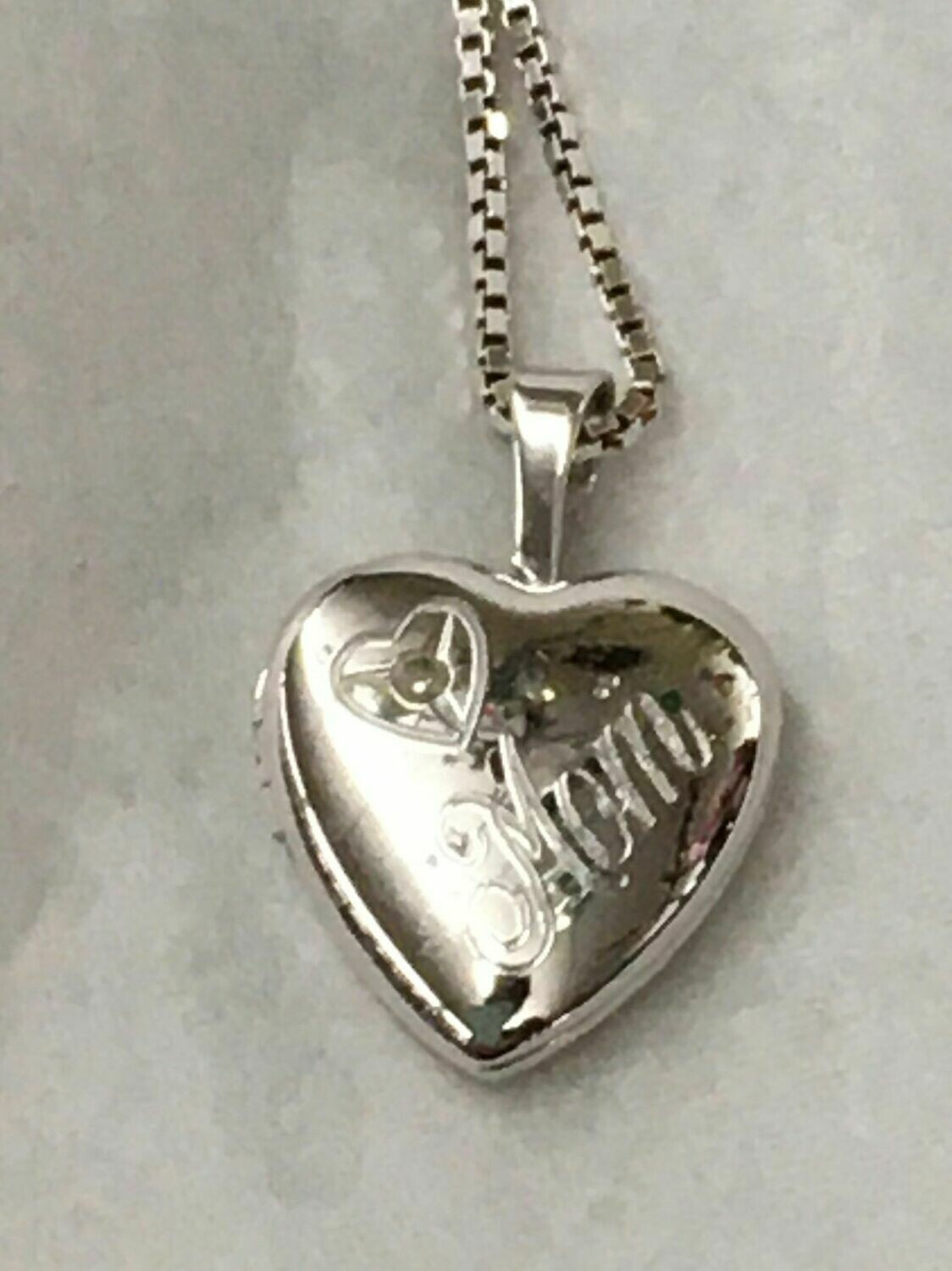 Mom Locket with genuine diamond chip - Sterling Silver with 18 inch box link chain