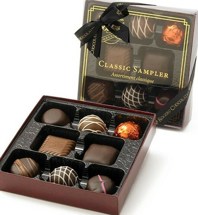 Rogers Classic Sampler Box - Milk and Dark Chocolate Assortment - 8 pieces - 110g - Rogers Chocolates