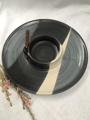 Chip & Dip / Veggie Dish Medium, Black & White - Pavlo Pottery - Canadian Handmade