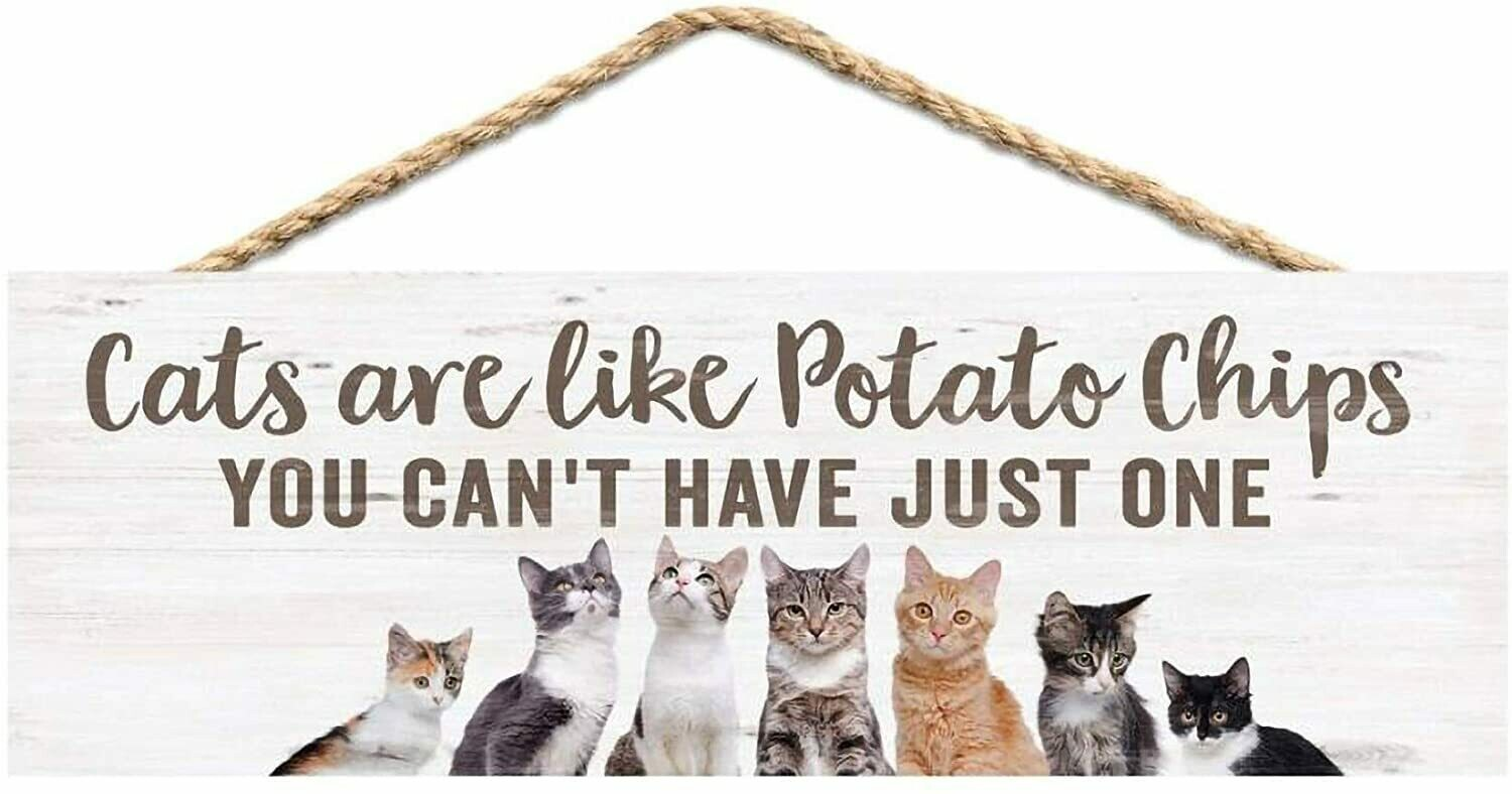 Wood Word String Sign - Cats are like Potato Chips - you can't have just one - P.G. Dunn