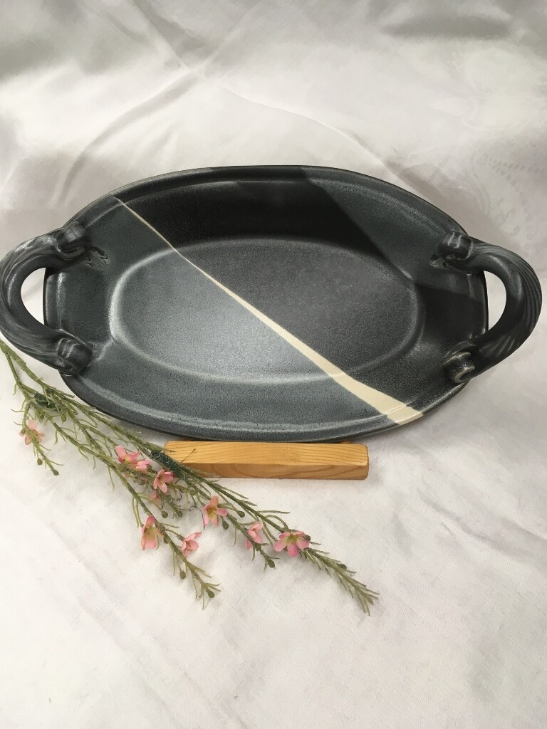 Oval Tray with Handles, Black & White - Pavlo Pottery - Canadian Handmade