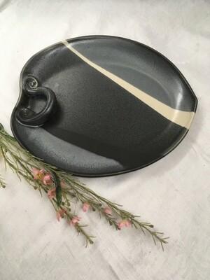 Leaf Tray, Black & White - Pavlo Pottery - Canadian Handmade