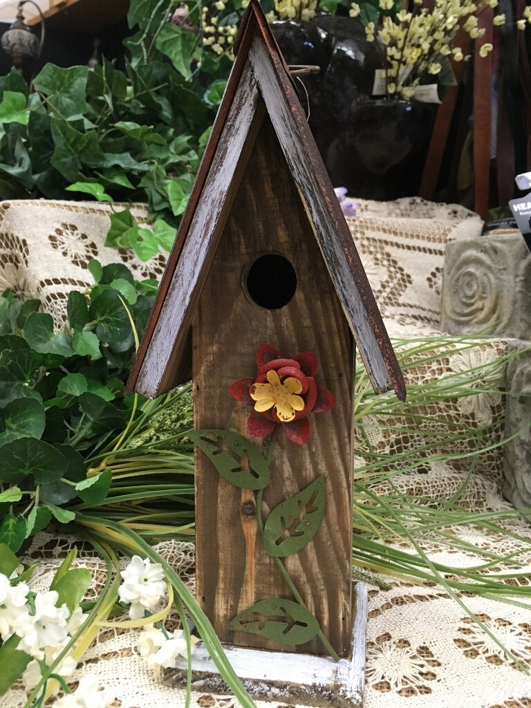 Birdhouse - Red Flower - 11 x 3.5 inches - Wood with Metal Roof and Flower