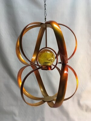Wind Spinner - Solar Copper Spiral - Hanging  - 8 x 11inches - gold crackle glass ball solar light