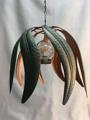Wind Spinner - Solar Patina Flame - Hanging  - 8 x 10 inches - clear crackle glass ball solar light