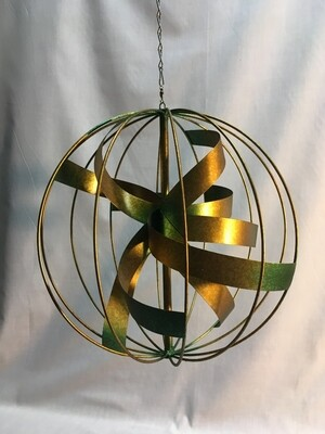 Wind Spinner - Copper/Gold Patina Sphere - Hanging  - 12 inches in diameter