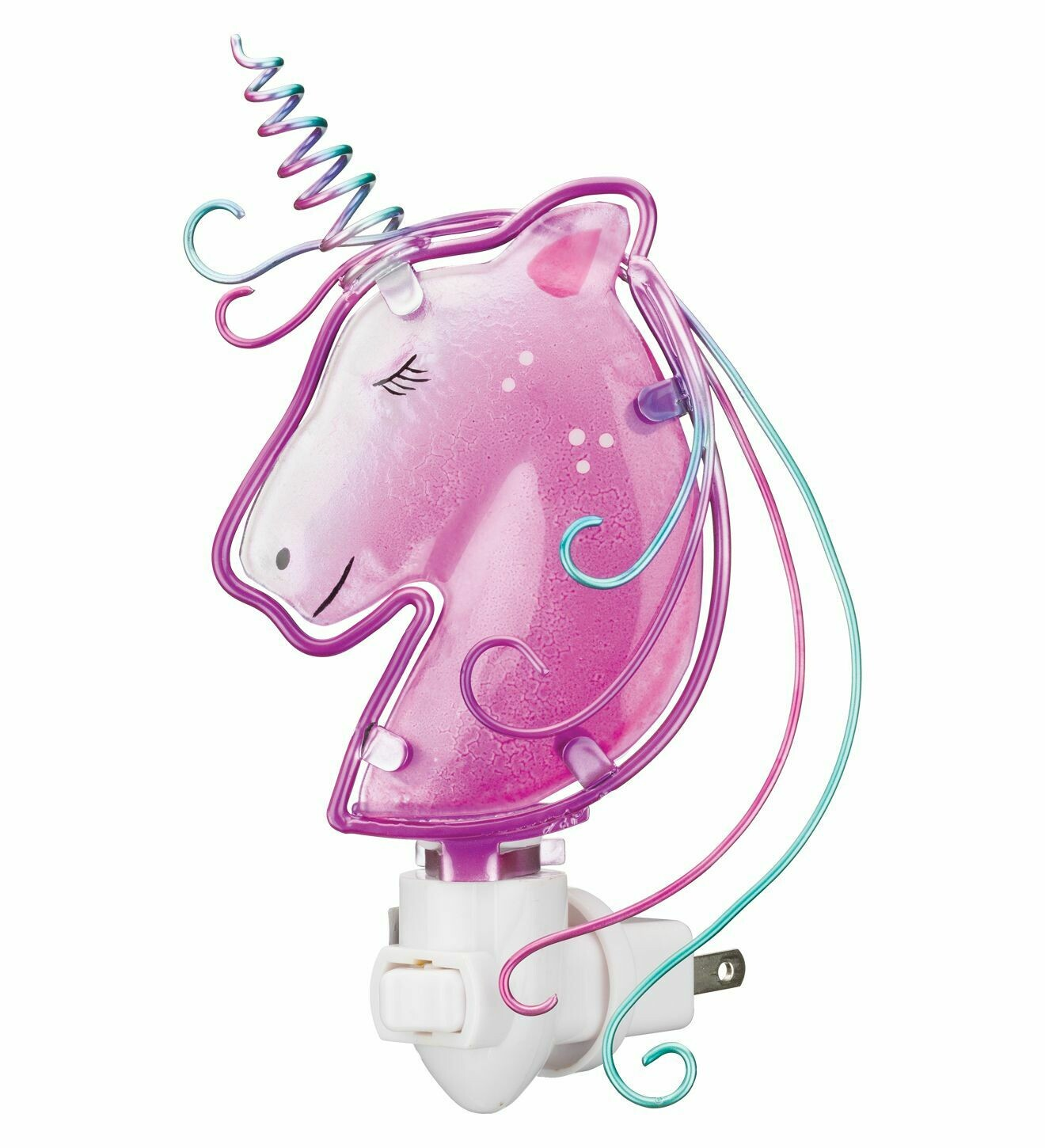 Night Light - Unicorn - hand-painted glass - 120v bulb included