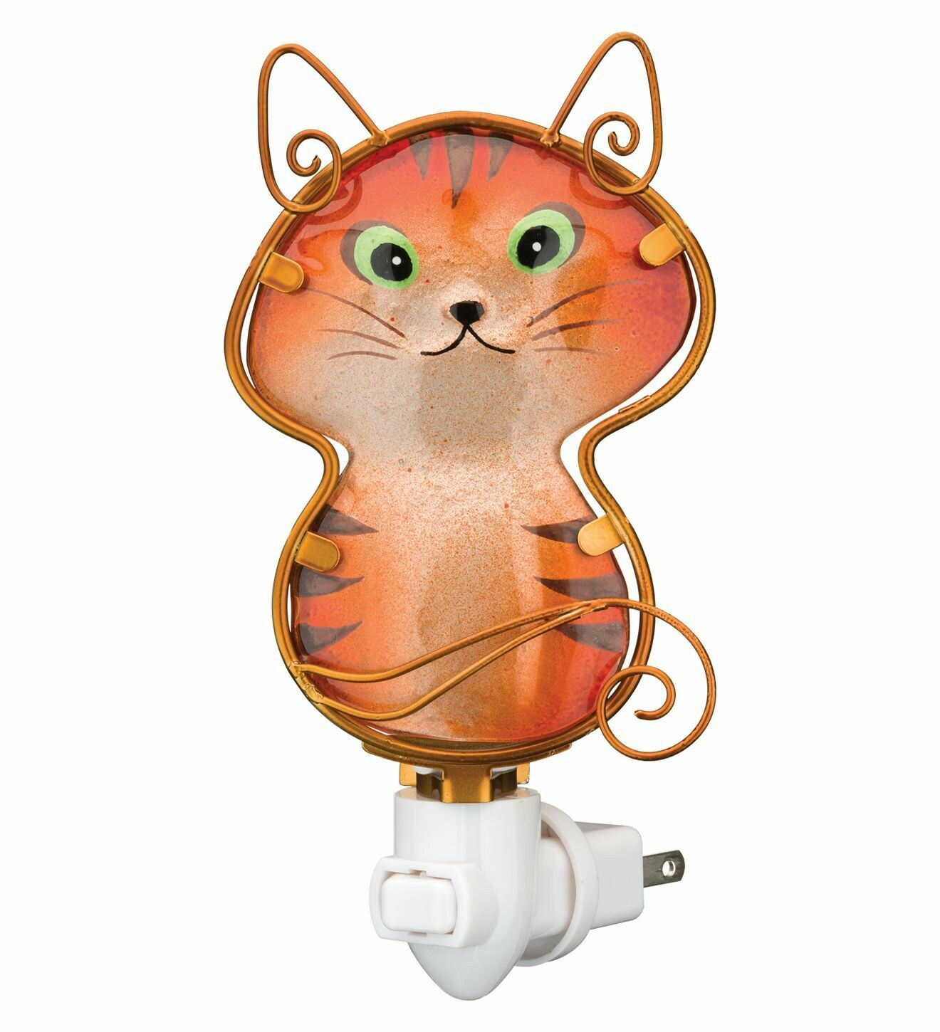 Night Light - Cat - hand-painted glass - 120v bulb included