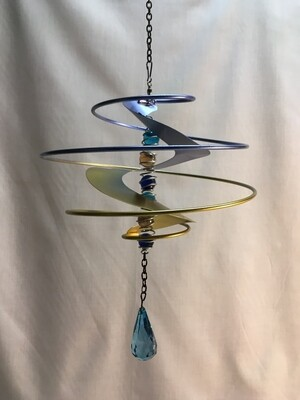 Wind Spinner - Fantasia Blue - Hanging - glass marbles and crystal dangle - 9  x 10 inches