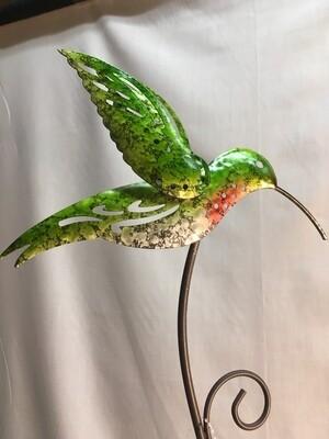 Garden Stake - Hummingbird - metal art - 28 inches
