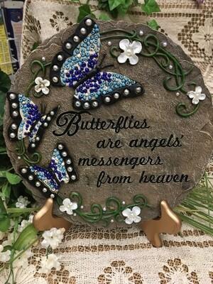 Garden Stepping Stone - Butterflies are angels' messengers from heaven - 9 inch diameter - beadwork Cala Lillies
