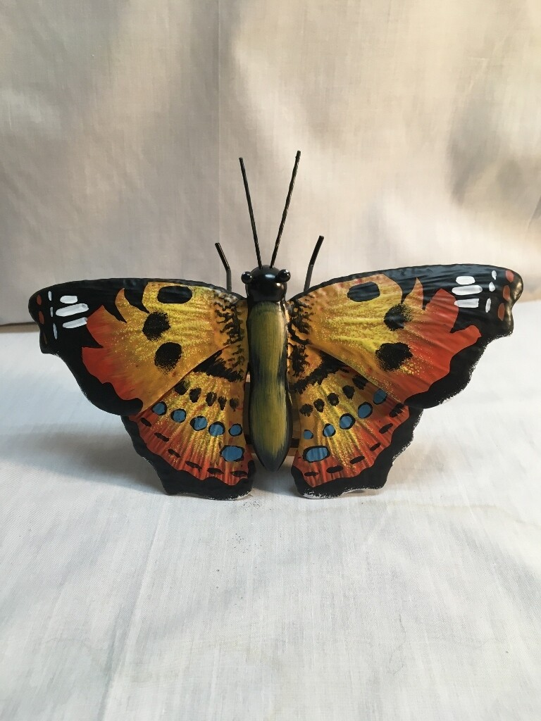 Garden Stake / House or Fence decor - Painted Lady Butterfly - metal art - 36 inch Stake