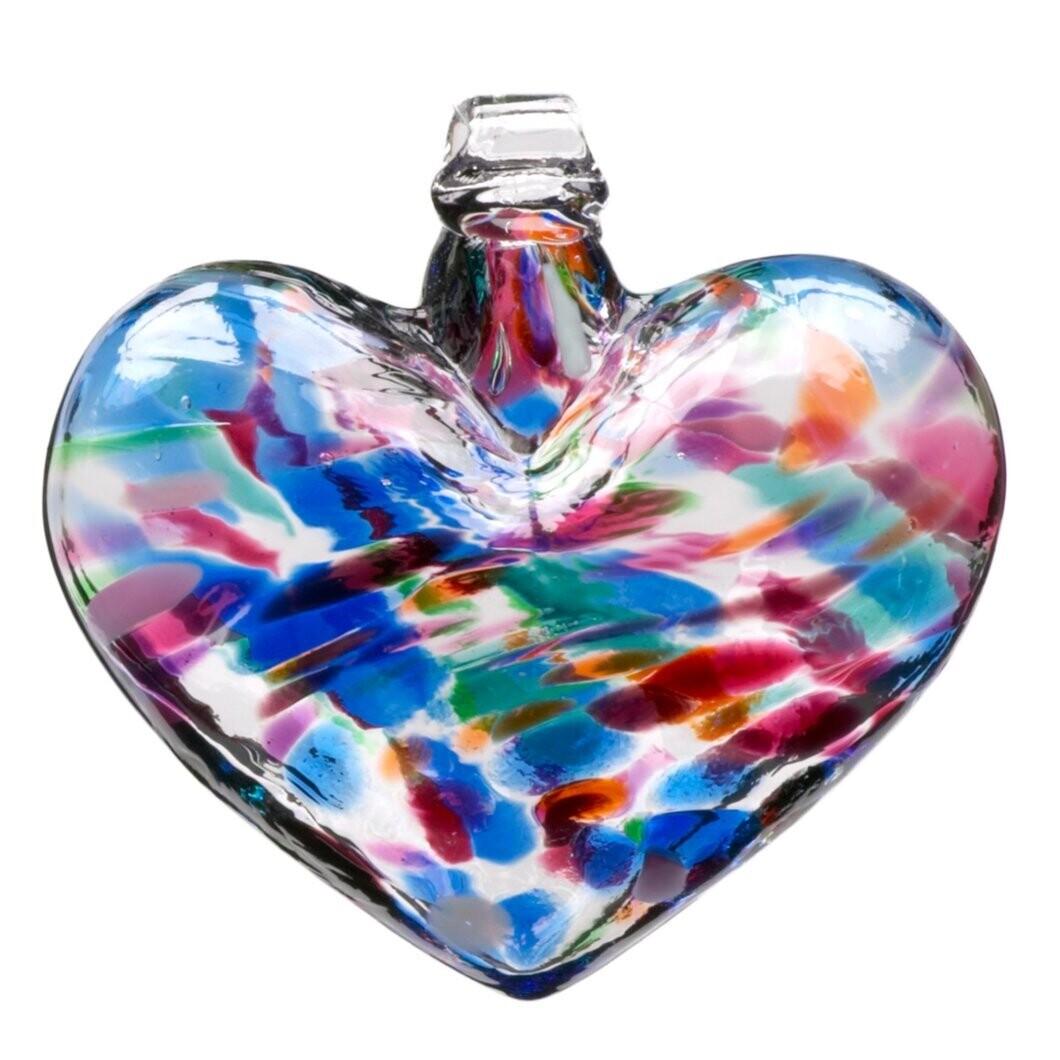 """3"""" Heart - Multicolour - Classic Multi - Canadian Blown Glass"""