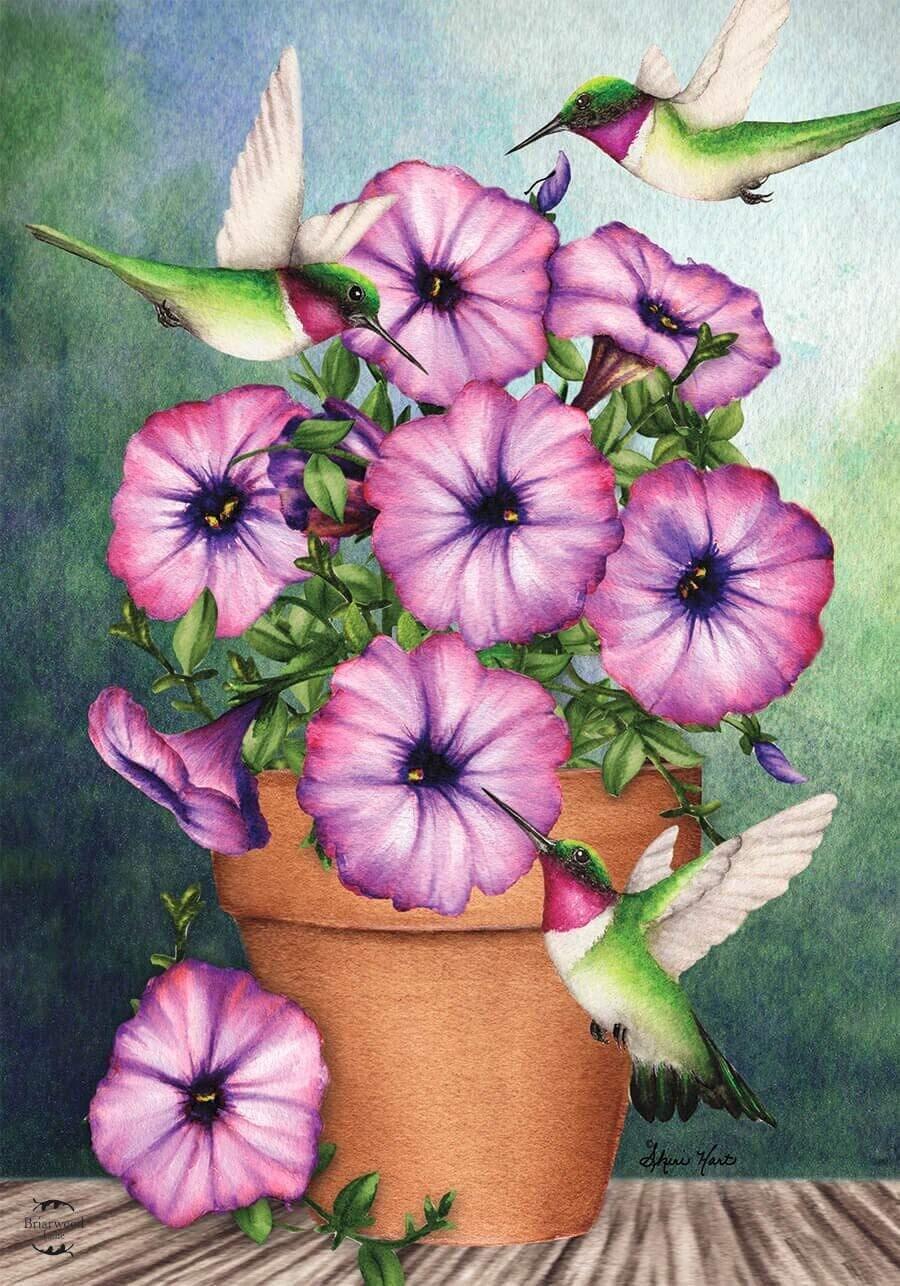"Potted Petunias and Hummingbirds - Garden Flag - 12.5 "" x 18"""