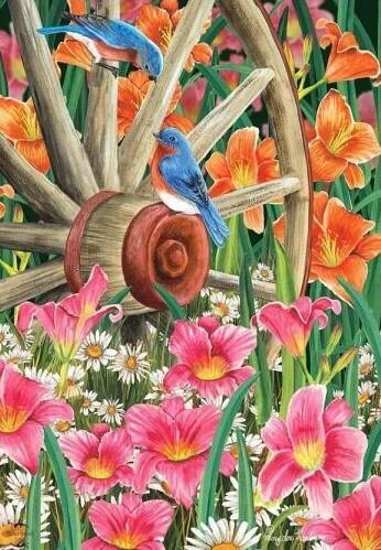 """Wagon Wheel Floral - Garden Flag - 12.5 """" x 18"""""""