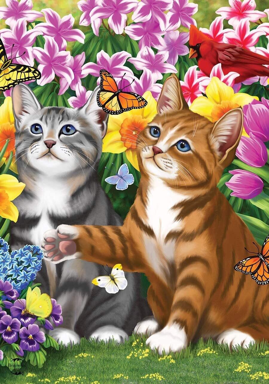"""Garden Kittens - Garden Flag - 12.5 """" x 18"""""""