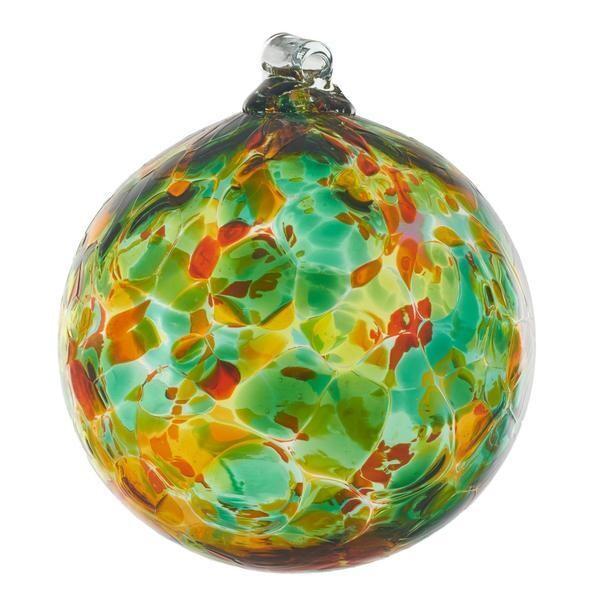"6"" Calico Friendship Ball - Green Meadow - Canadian Blown Glass"