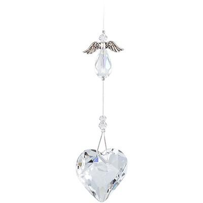 Guardian Angel Heart - Clear Angel with Clear Crystal Heart - Crystal Suncatcher - Canadian Handmade Rainbow Maker