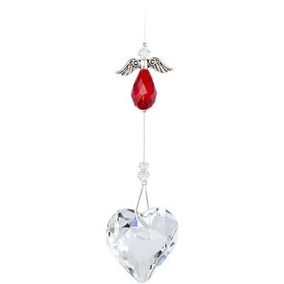 Guardian Angel Heart - Red Angel with Clear Crystal Heart - Crystal Suncatcher - Canadian Handmade Rainbow Maker