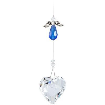 Guardian Angel Heart - Blue Angel with Clear Crystal Heart - Crystal Suncatcher - Canadian Handmade Rainbow Maker