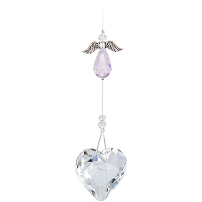 Guardian Angel Heart - Pink Angel with Clear Crystal Heart - Crystal Suncatcher - Canadian Handmade Rainbow Maker