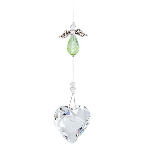 Guardian Angel Heart - Green Angel with Clear Crystal Heart - Crystal Suncatcher - Canadian Handmade Rainbow Maker
