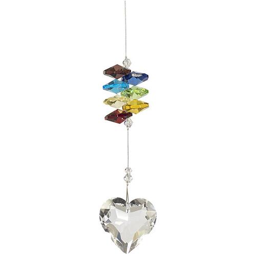 Friendship Heart Crystal - Chakra Coloured Crystals - Crystal Suncatcher - Canadian Handmade Rainbow Maker